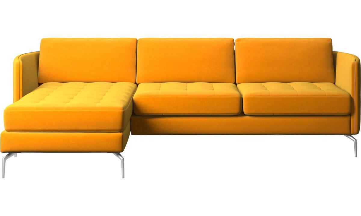 Sofás com chaise - Sofá Osaka com módulo chaise-longue, assento tufado - Laranja - Tecido