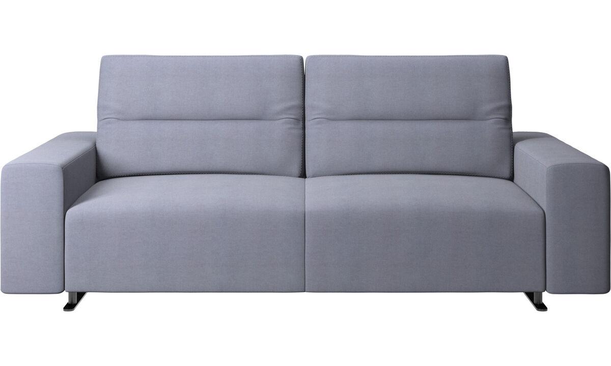 Canapés 2 places et demi - Canapé Hampton avec dossier ajustable et espace de rangement côté droit - Bleu - Tissu
