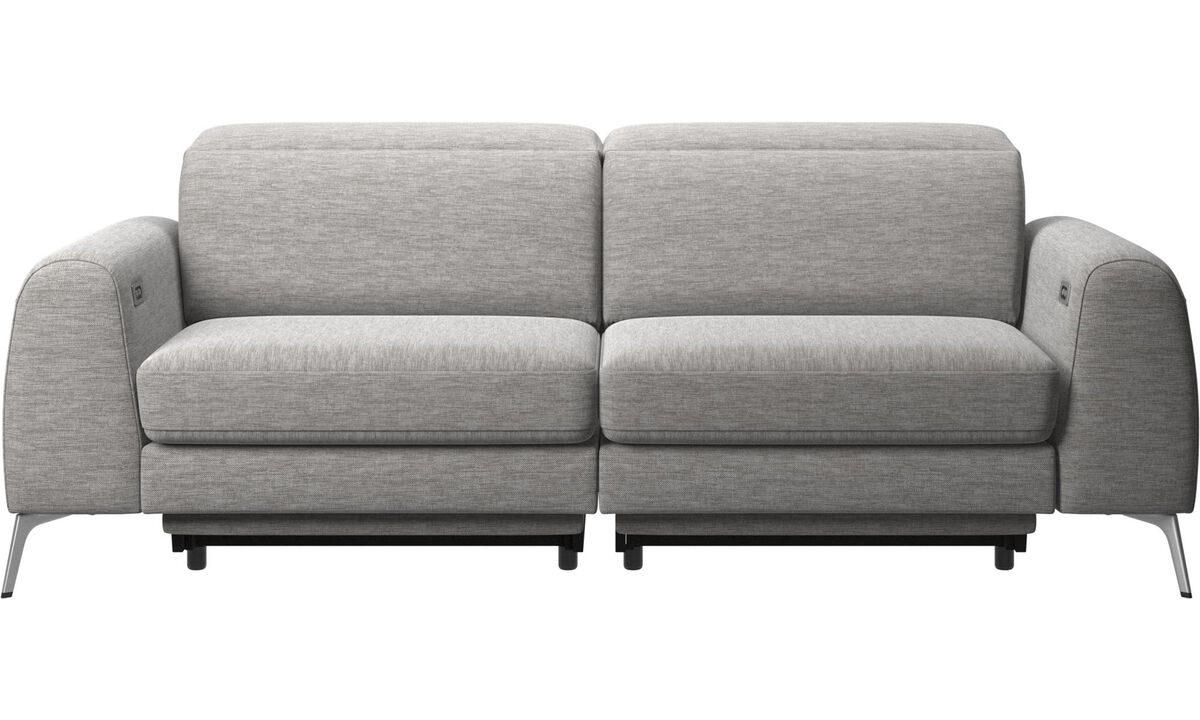 3 seater sofas - Madison sofa with electric seat, head and footrest motion (transformer and cable plug-in included) - Grey - Fabric