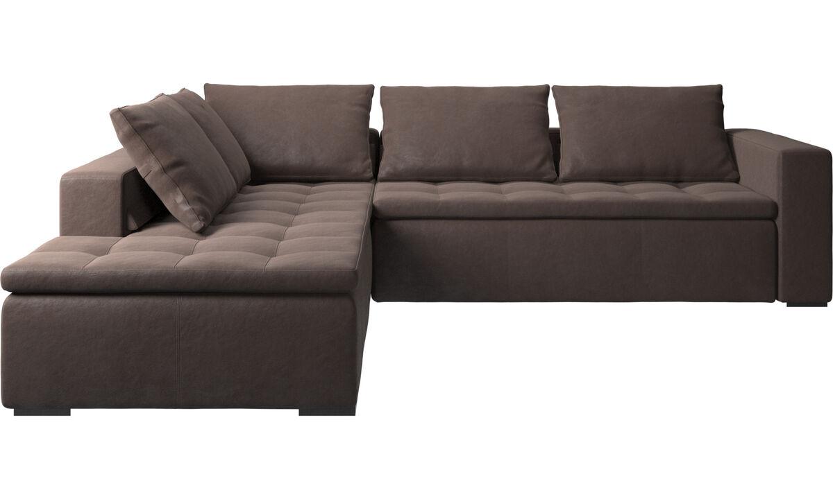 Sofás de canto - sofá de canto Mezzo com módulo de descanso - Castanho - Pele