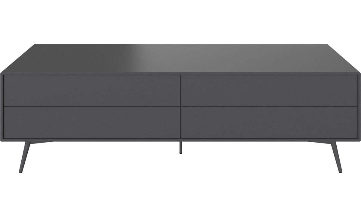 Tv units - Fermo media unit with drop-down door and drawer - Grey - Lacquered