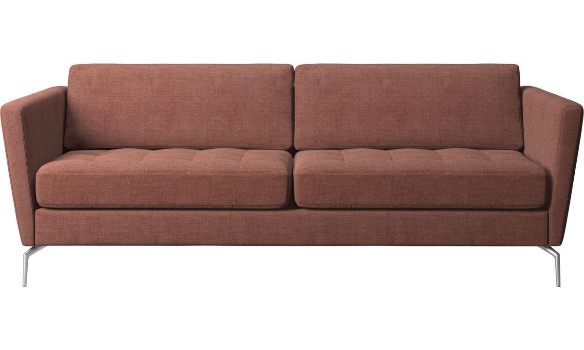 Sofás de 2 lugares e meio - Sofá Osaka, assento tufado - Vermelho - Tecido