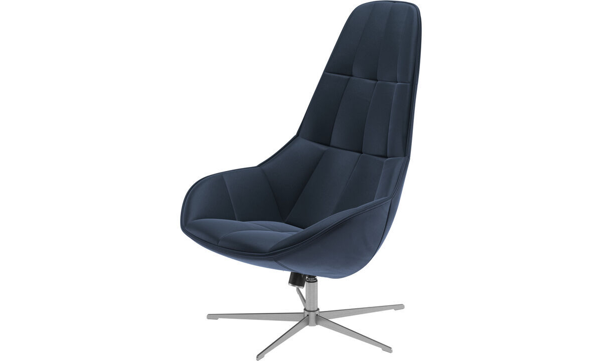 Armchairs - Boston chair with swivel and tilt function - Blue - Leather