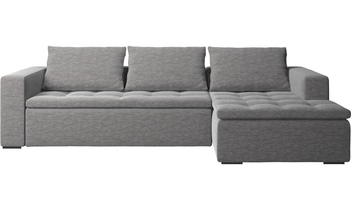 Sofás con chaise longue - Sofá Mezzo con módulo chaise-longue - En gris - Tela