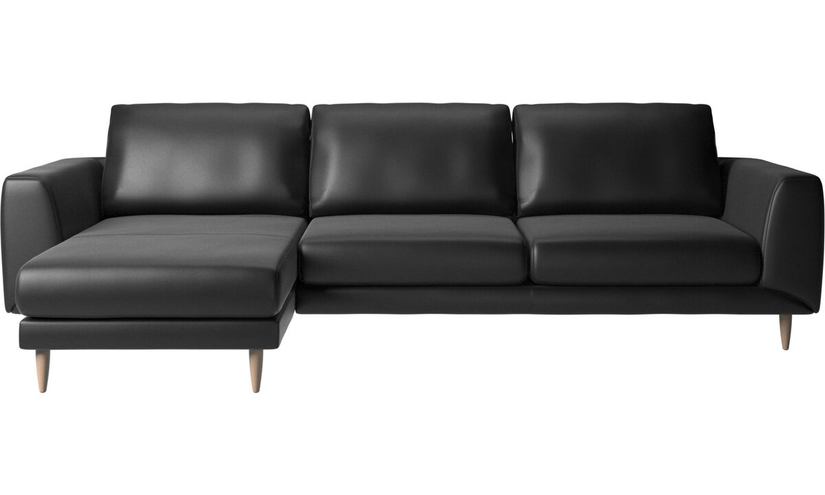 Chaise longue sofas - Fargo sofa with resting unit - Black - Leather