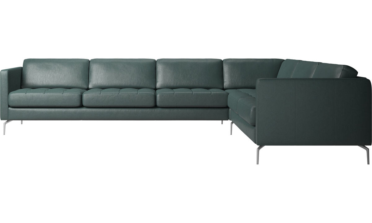 Corner sofas - Osaka corner sofa, tufted seat - Green - Fabric