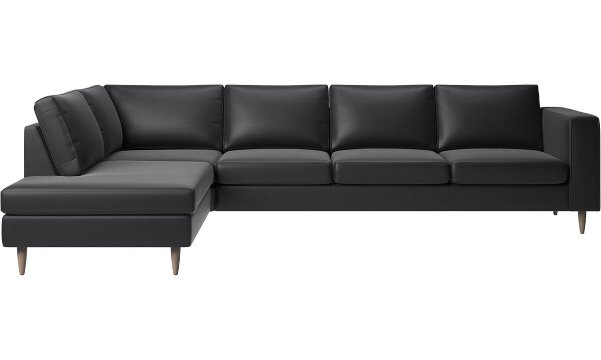 Sofas with open end - Indivi 2 corner sofa with lounging unit - Black - Leather