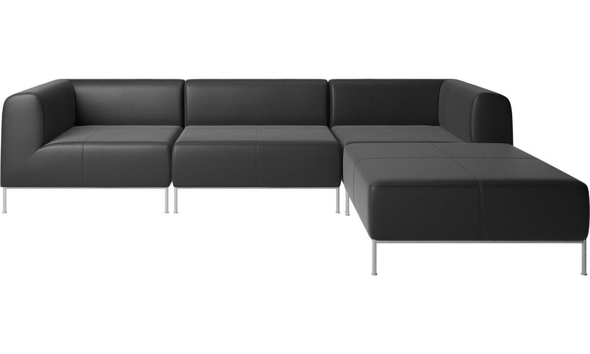 Sofás modulares - Sofá Miami con puf en lado derecho - En negro - Piel