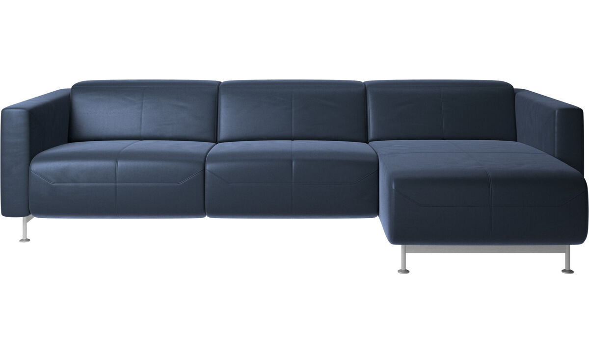 Chaise lounge sofas - Parma reclining sofa with chaise lounge - Blue - Leather