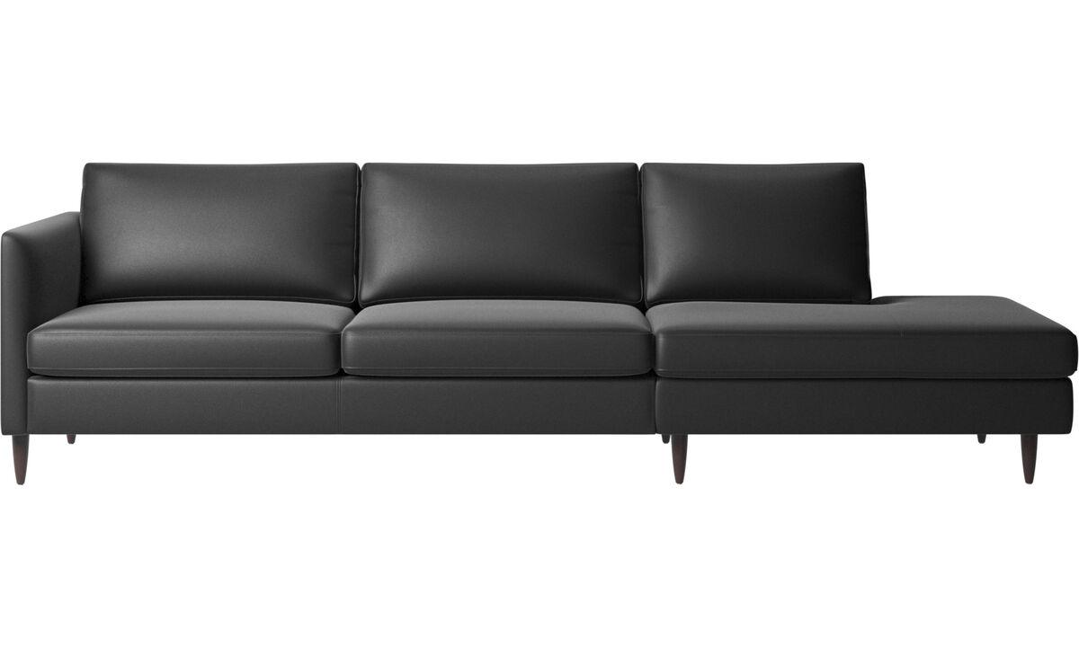 Sofas with open end - Indivi divano con lounge - Nero - Pelle