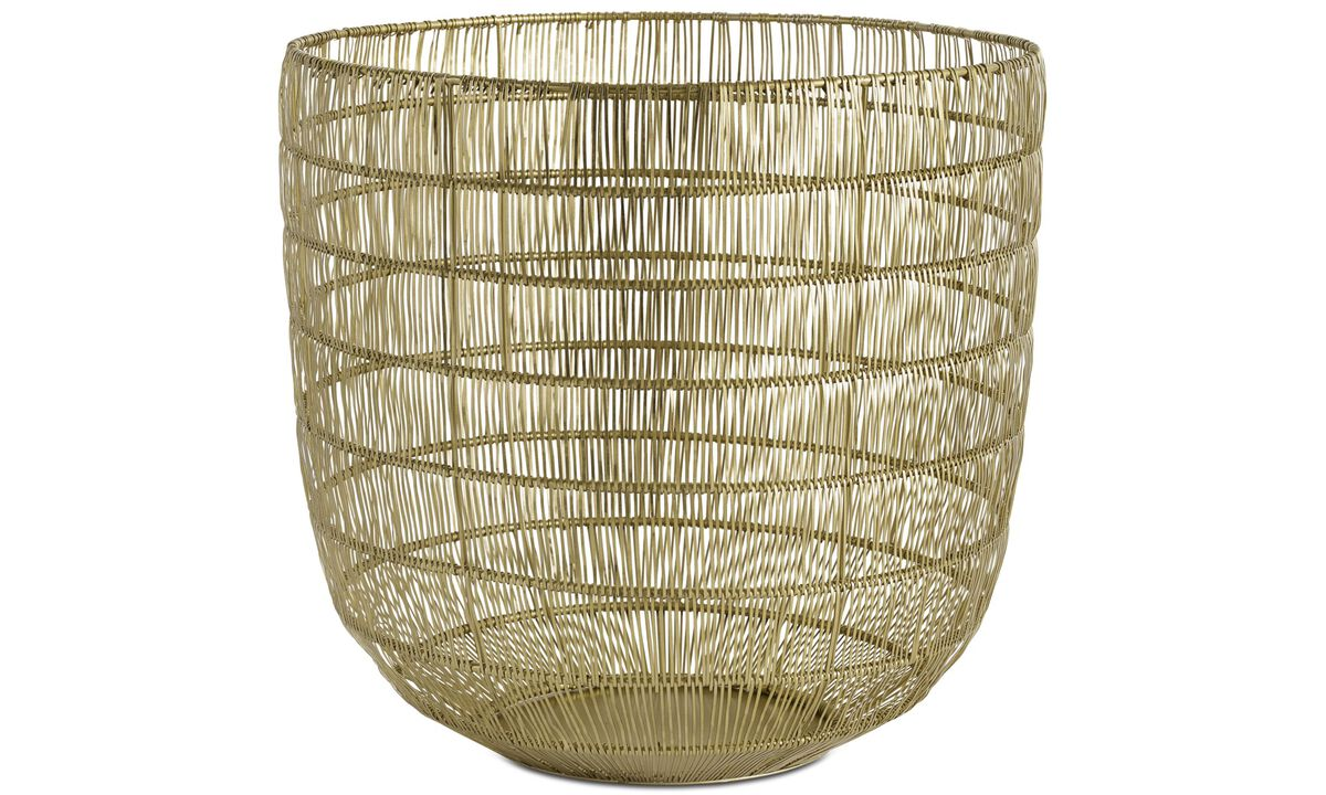 Small storage - Shining wire basket - Yellow - Metal