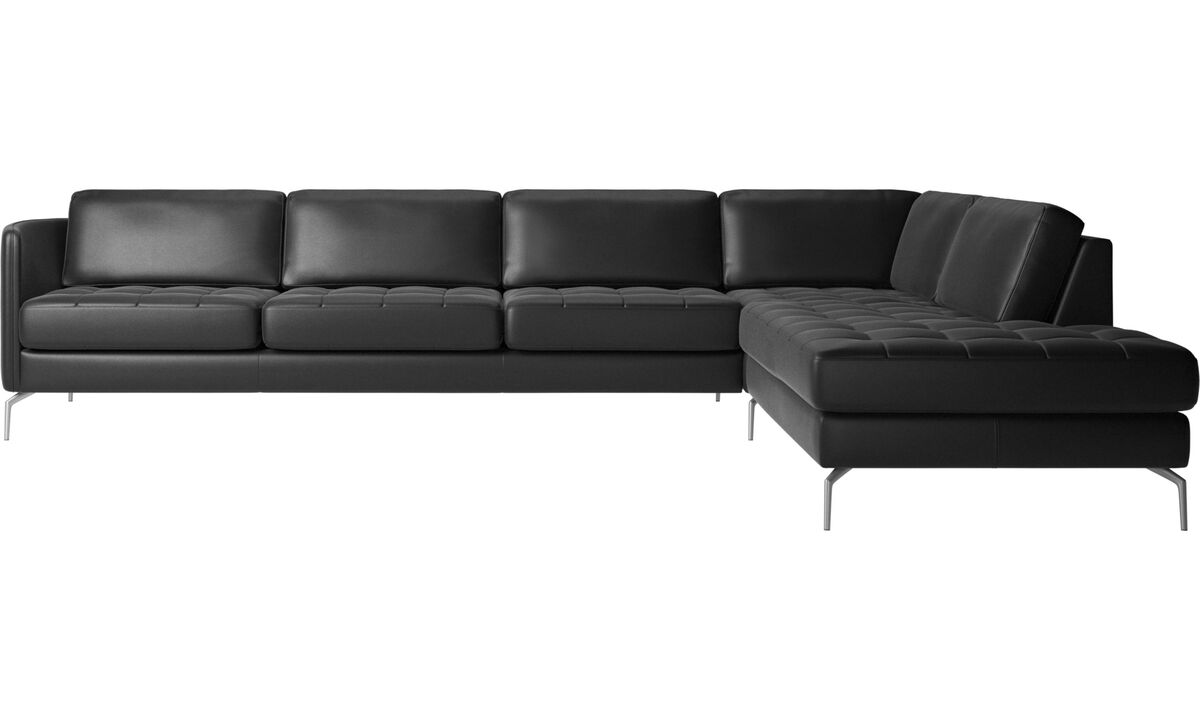 Corner sofas - Osaka corner sofa with lounging unit, tufted seat - Black - Leather