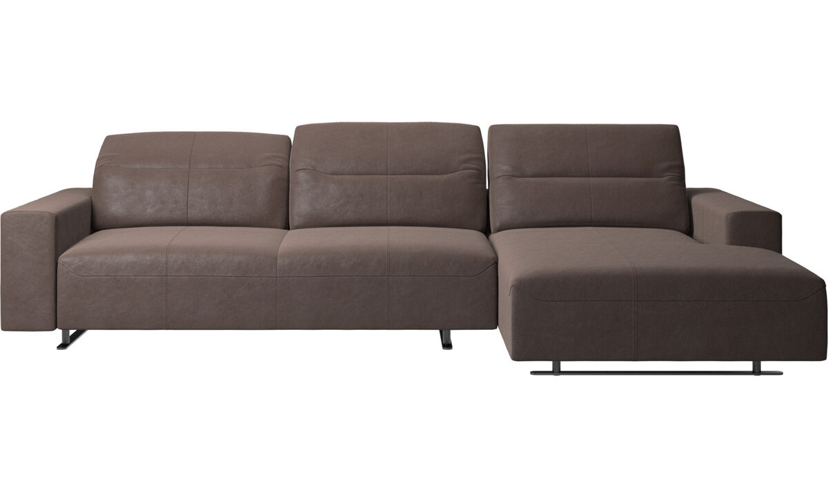 Chaise longue sofas - Hampton sofa with adjustable back and resting unit right side, storage left side - Brown - Leather