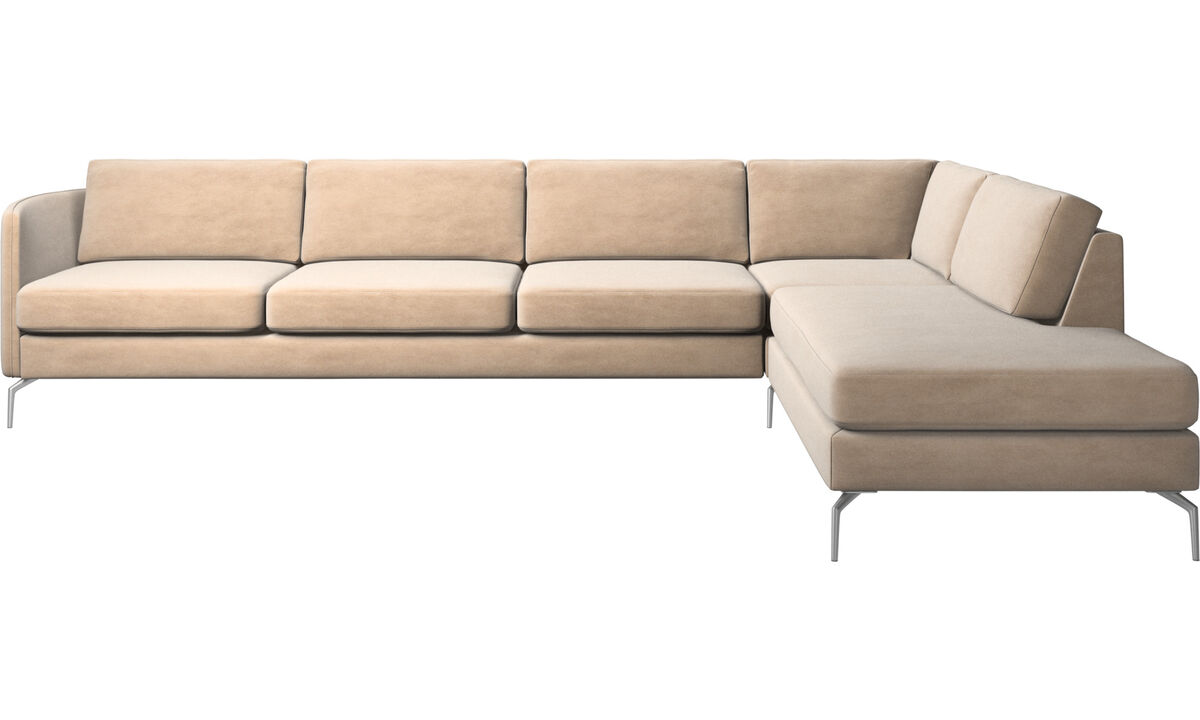 Lounge Suites - Osaka corner sofa with lounging unit, regular seat - Beige - Fabric