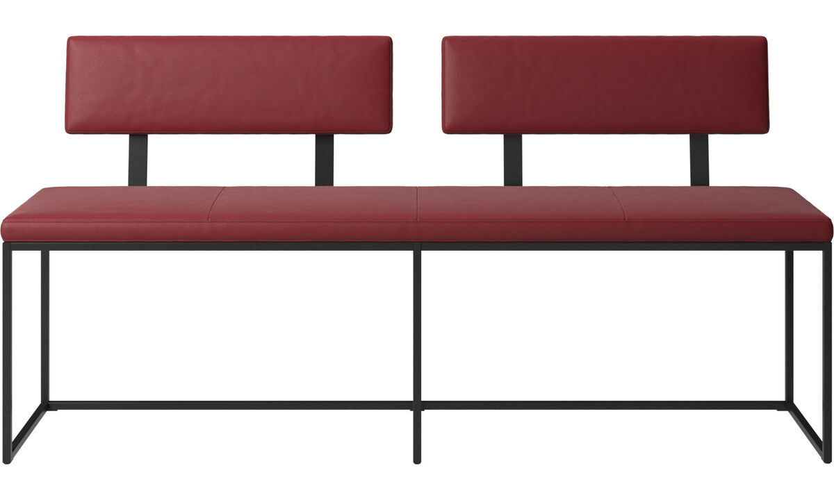Benches - London large bench with cushion and backrest - Red - Leather