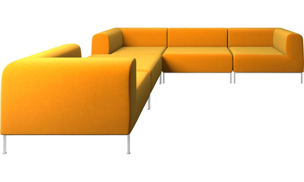 Sofás modulares - Sofá esquinero Miami con puf en lado izquierdo - Naranja - Tela