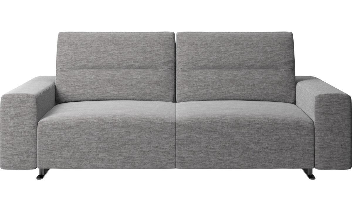 Sofás de 2 plazas y media - Sofá Hampton con respaldo ajustable y almacenamiento en lado derecho - En gris - Tela