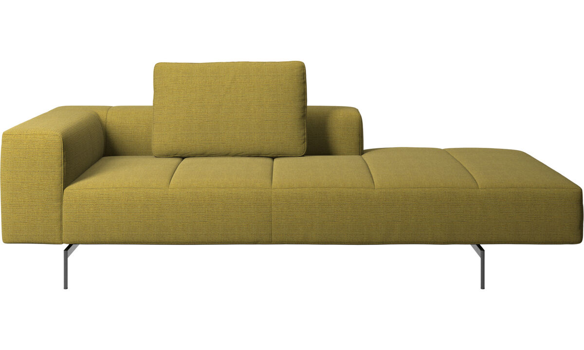 Chaise lounge sofas - Amsterdam Iounging module for sofa, armrest left, open end right - Yellow - Fabric
