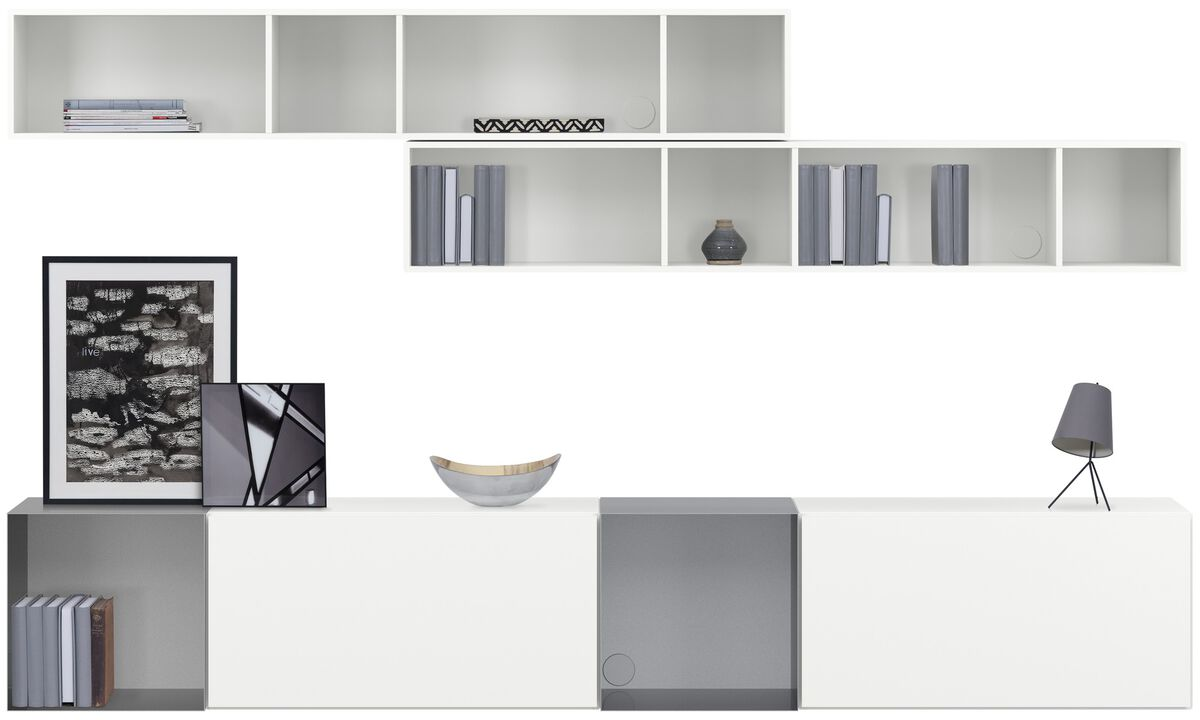 Wall systems - Lugano wall mounted wall system with drawers - White - Lacquered