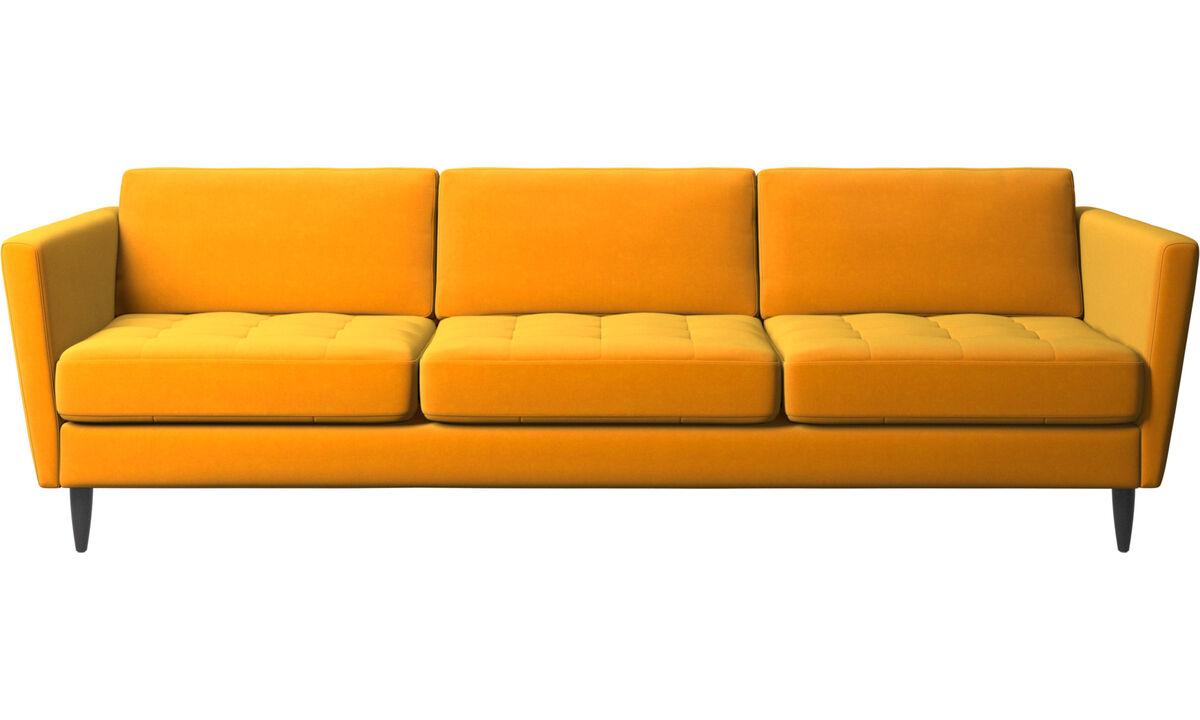Sofás de 3 plazas - sofá Osaka, asiento capitoné - Naranja - Tela