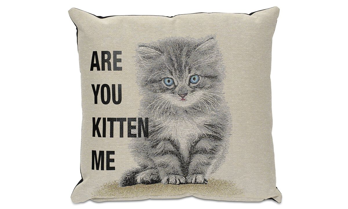 Almofadas - Are you kitten me cushion - Bege - Tecido