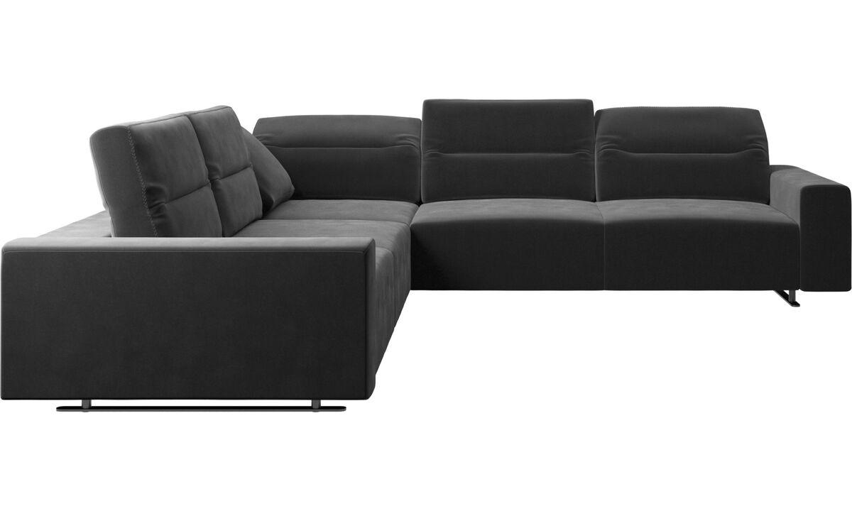 Γωνιακοί καναπέδες - Γωνιακός καναπές Hampton με ρυθμιζόμενη πλάτη - Μαύρο - Ύφασμα