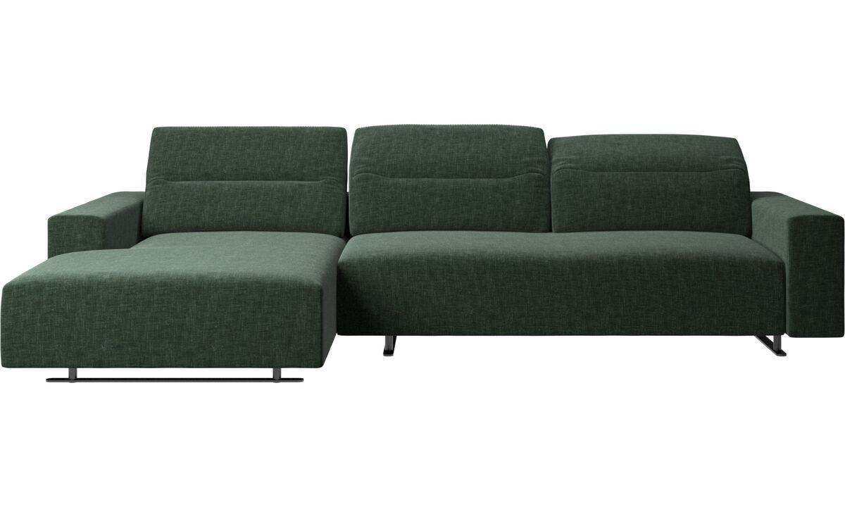 Sofas mit Récamiere - Hampton Sofa mit verstellbarem Rückenpolster, Ruhemodul und Staufach links - Grün - Stoff