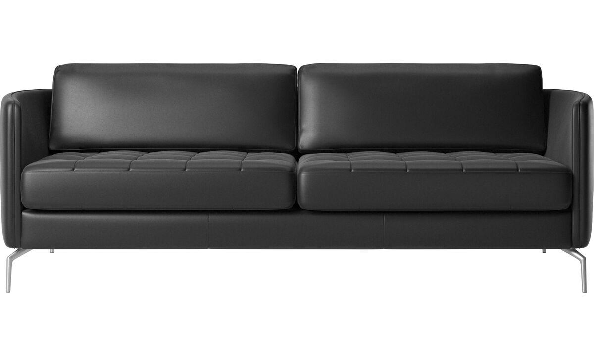 Sofás de 2 plazas y media - Sofá Osaka, asiento capitoné - En negro - Piel