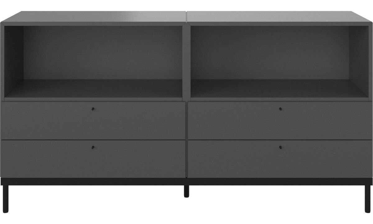 Office storage - Atlanta base cabinet with drawers and bookcase - Grey - Lacquered