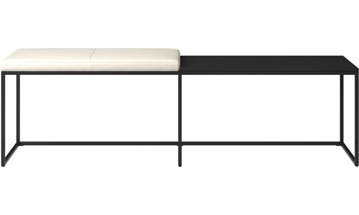 Benches - London large bench with cushion and shelf - White - Leather