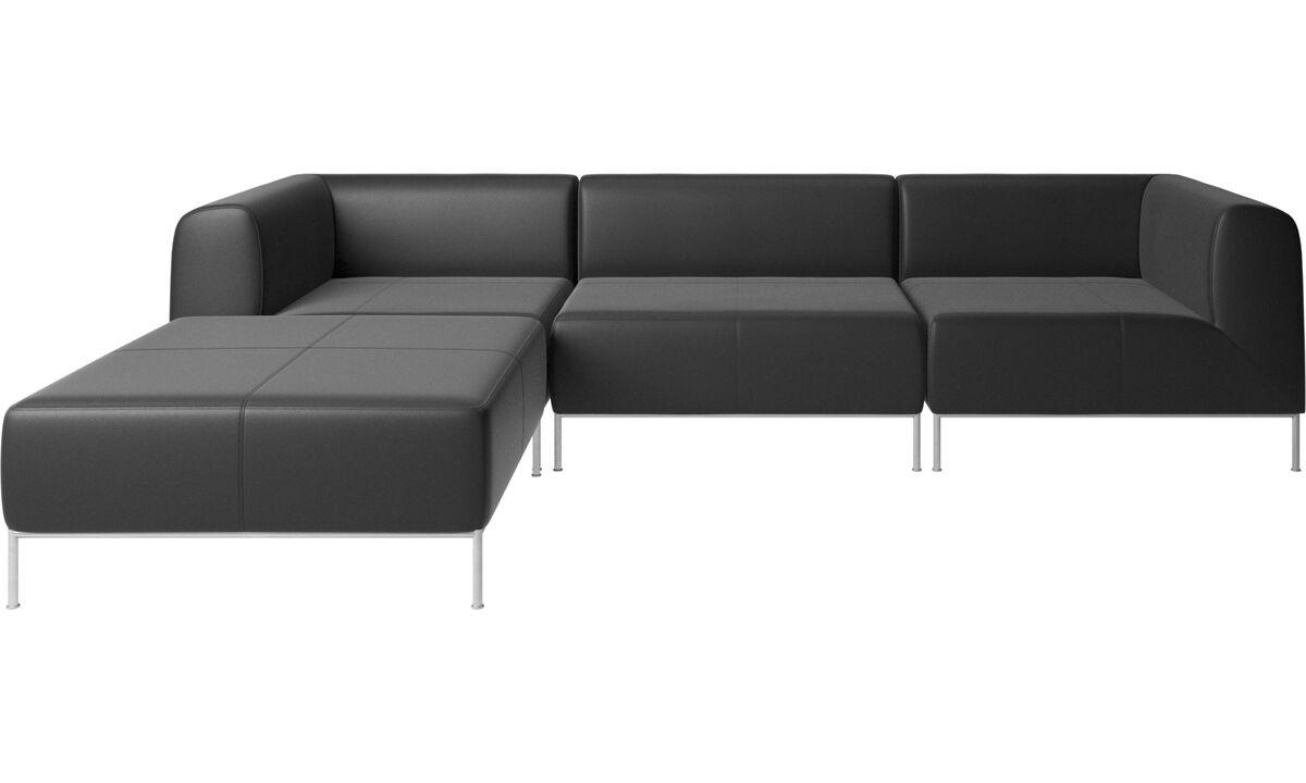 Modular sofas - Miami sofa with pouf on right side - Black - Leather