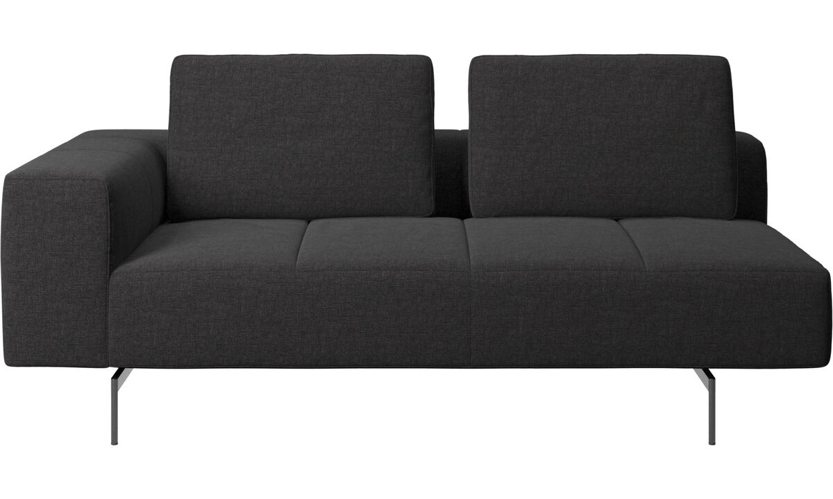 Modular sofas - Amsterdam 2.5 seating module, armrest left - Black - Fabric