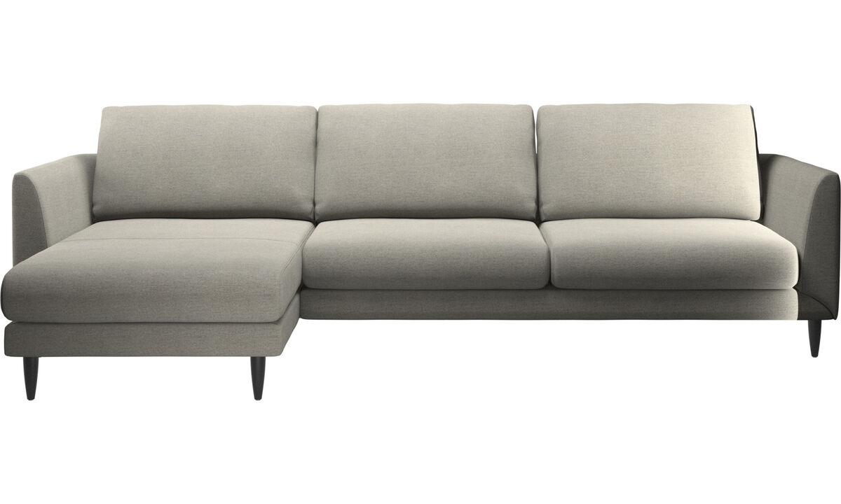 Sofás con chaise longue - sofá Fargo con módulo chaise-longue - En beige - Tela