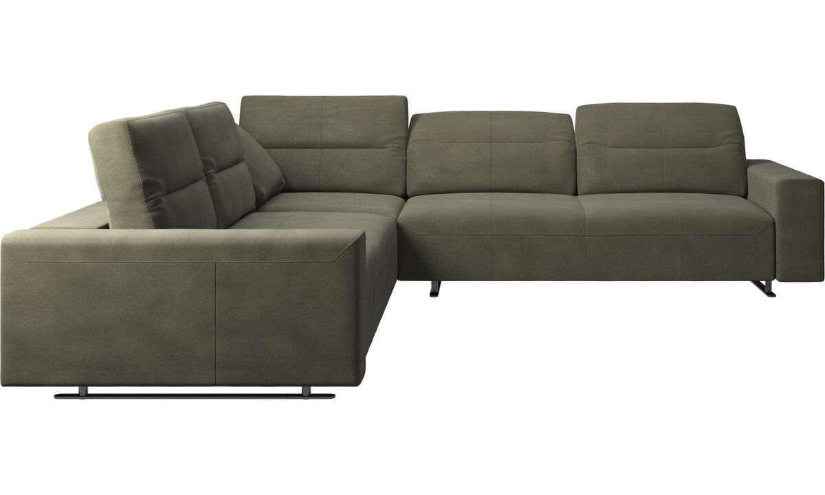 Corner & L-Shaped Sofa - Hampton corner sofa with adjustable back - Green - Leather