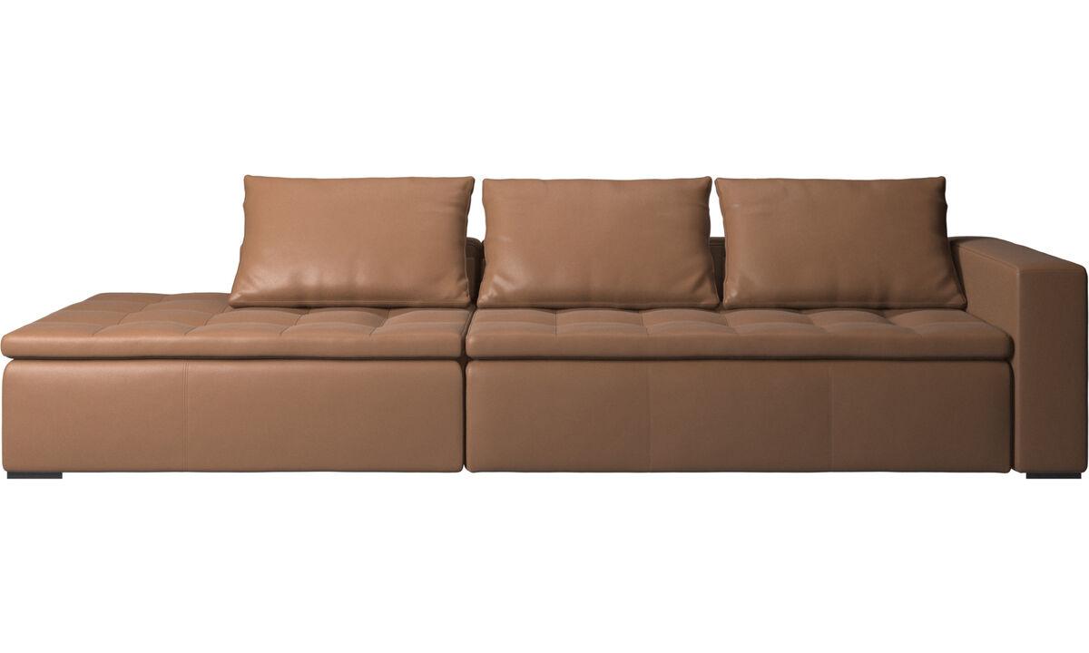 Sofás con lado abierto - sofá Mezzo con módulo de descanso - En marrón - Piel