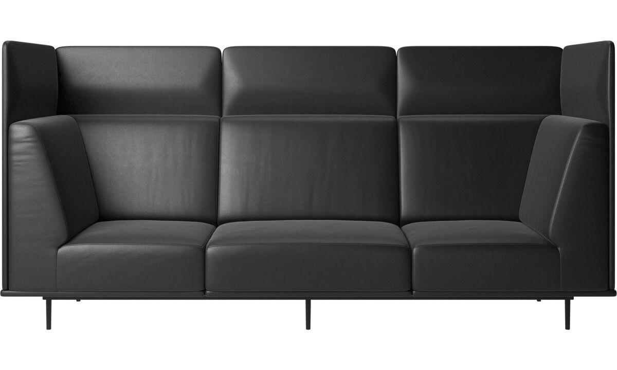 3 seater sofas - Toulouse sofa - Black - Leather