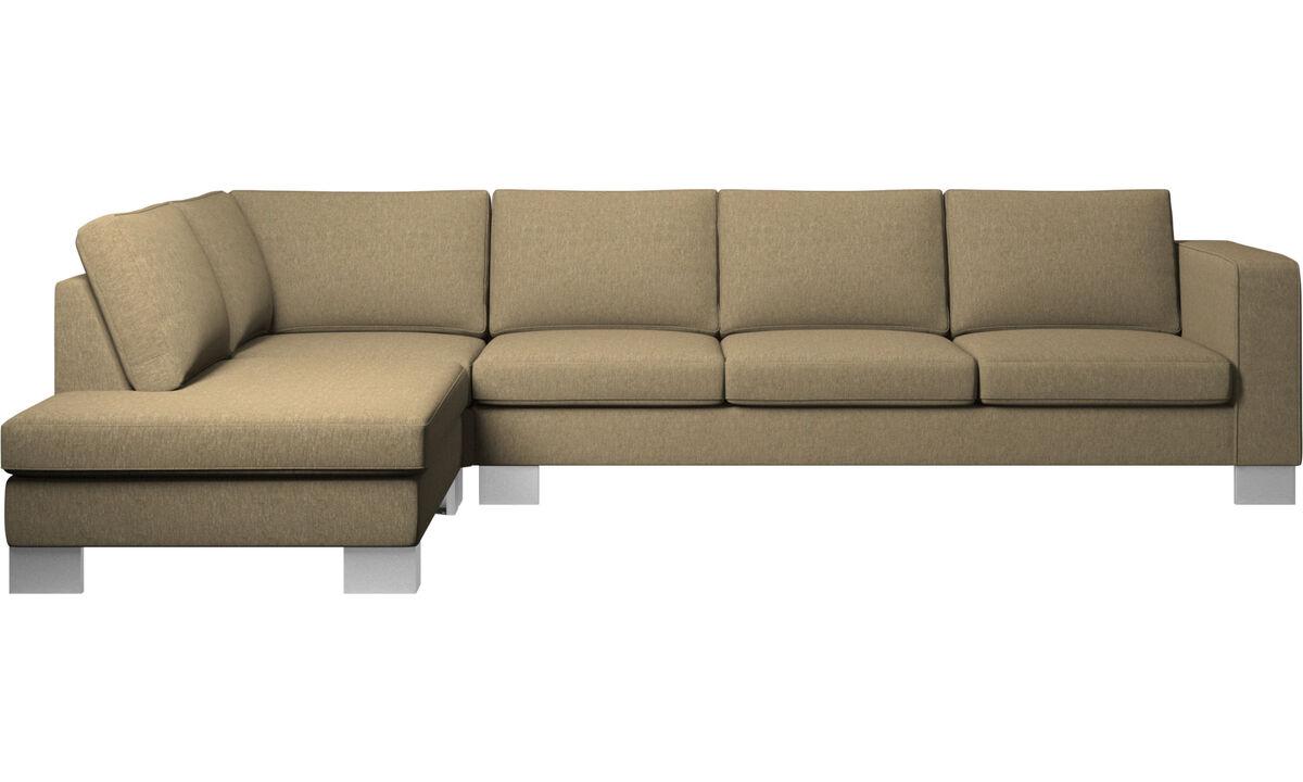 Corner sofas - Indivi corner sofa with lounging unit - Green - Fabric