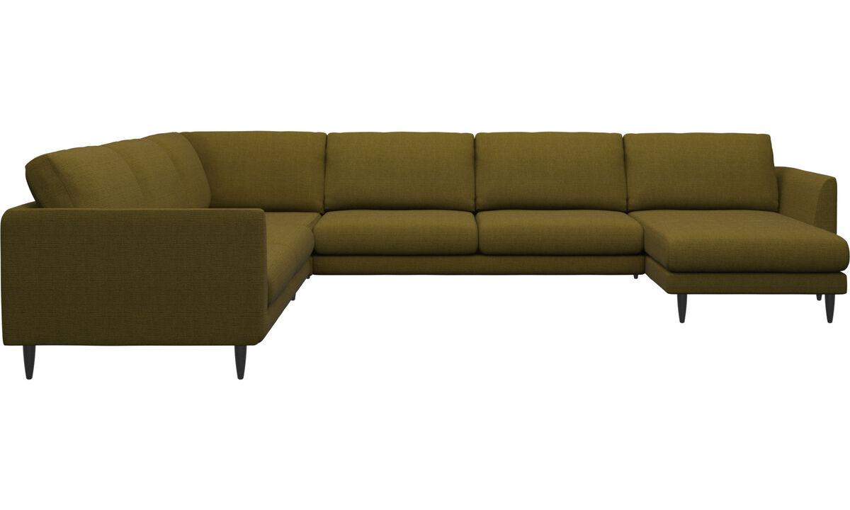 Sofás - sofá esquinero Fargo con módulo chaise-longue - En amarillo - Tela