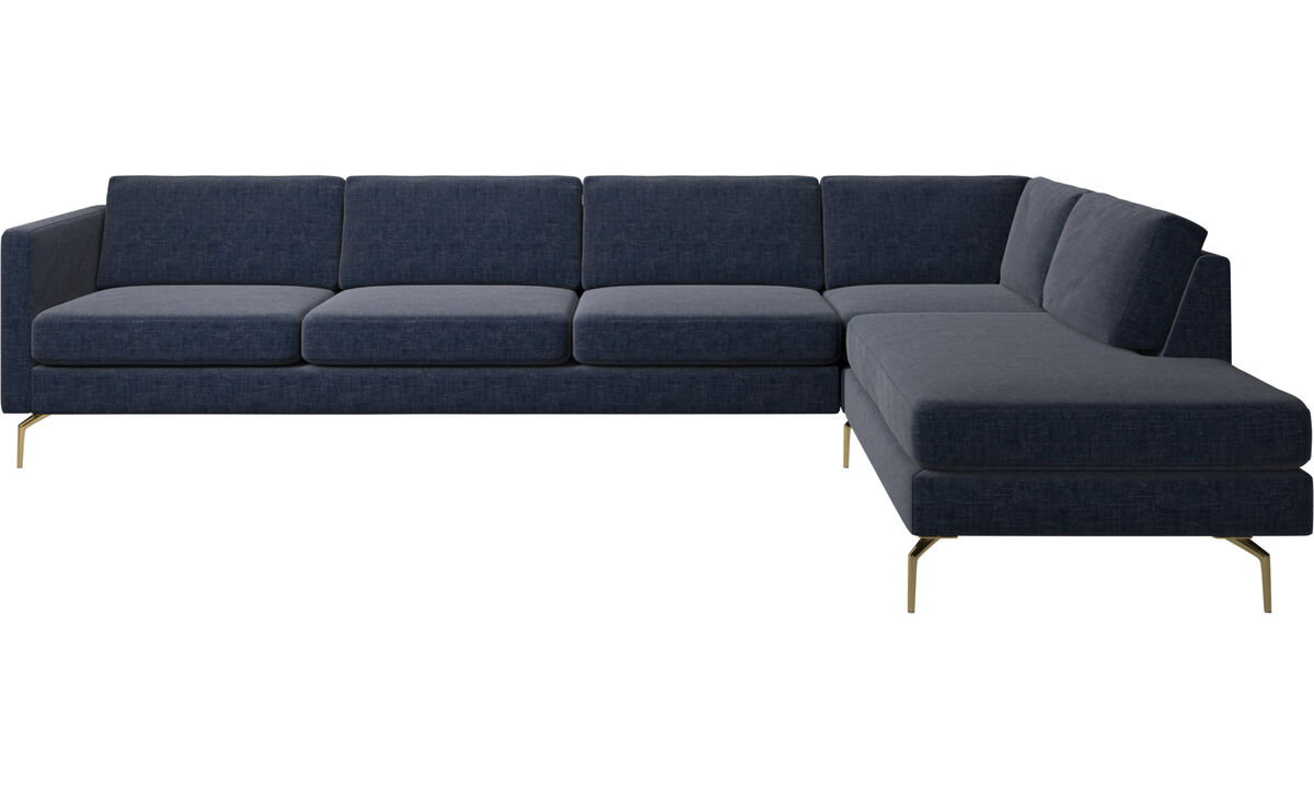 Corner sofas - Osaka corner sofa with lounging unit, regular seat - Blue - Fabric