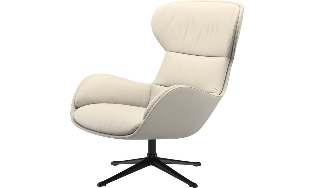 Recliners - Reno chair with swivel function - White - Leather