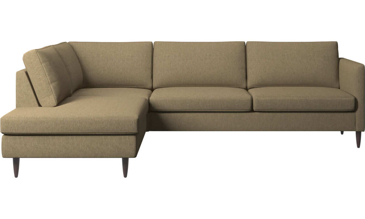 Sofas with open end - Indivi corner sofa with lounging unit - Green - Fabric