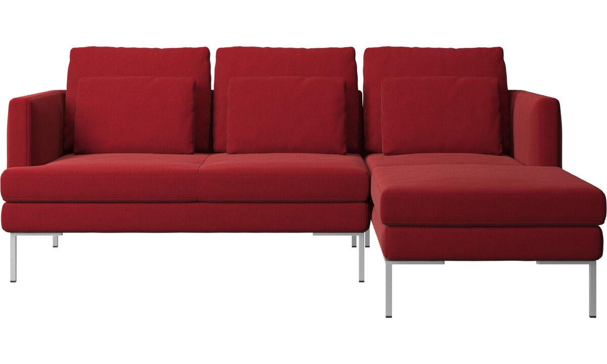 Sofás com chaise - Sofá Istra 2 chaise-longue - Vermelho - Tecido