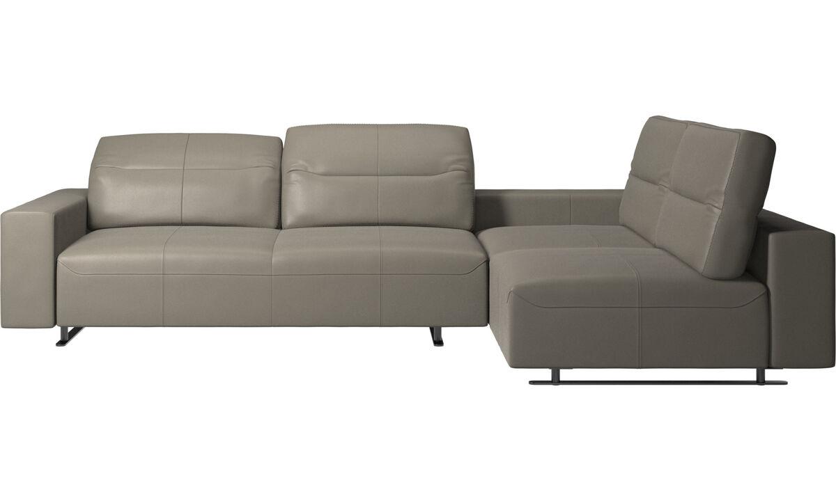 Sofás esquineros - Sofá esquinero Hampton con respaldo ajustable y almacenamiento en lado izquierdo - En gris - Piel