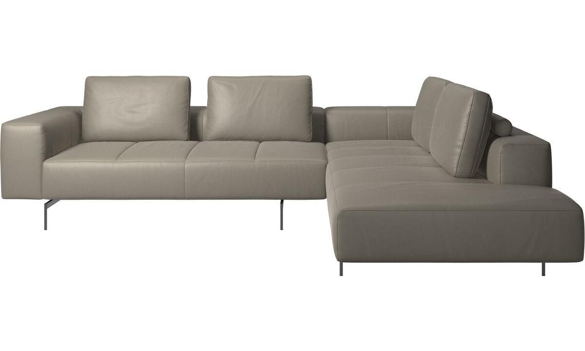 Sofás modulares - sofá esquinero Amsterdam con módulo de descanso - En gris - Piel