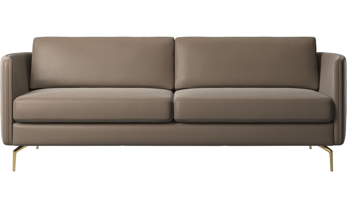 Canapés 2 places et demi - canapé Osaka, assise classique - Gris - Cuir