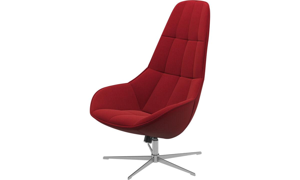 Lænestole - Boston stol med dreje- og vippefunktion - Rød - Stof