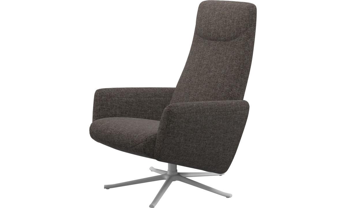 Butacas reclinables - Butaca reclinable Lucca con función giratoria - En marrón - Tela