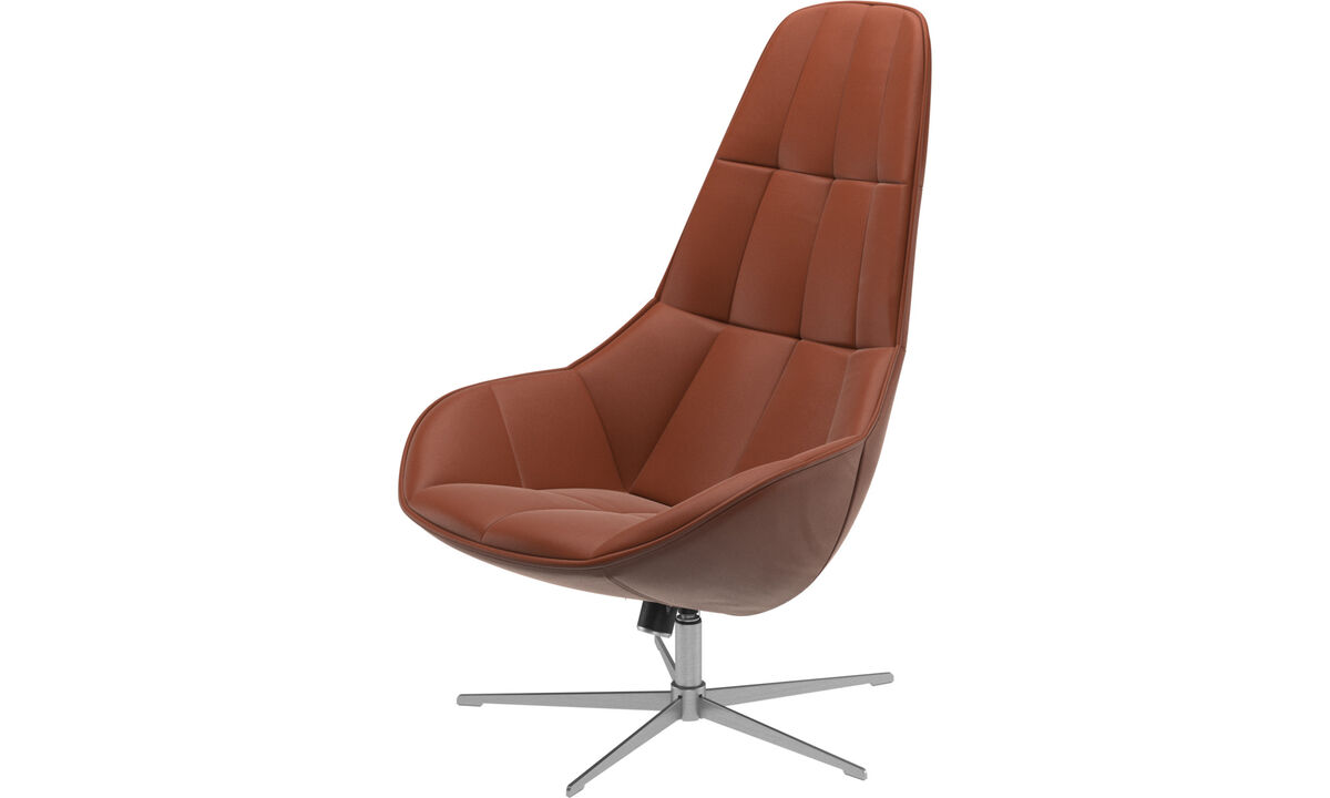 Armchairs - Boston chair with swivel and tilt function - Brown - Leather