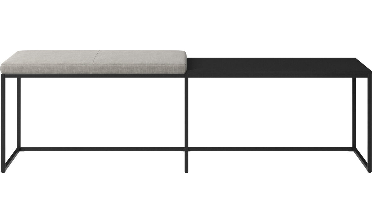 Benches - London large bench with cushion and shelf - Grey - Fabric