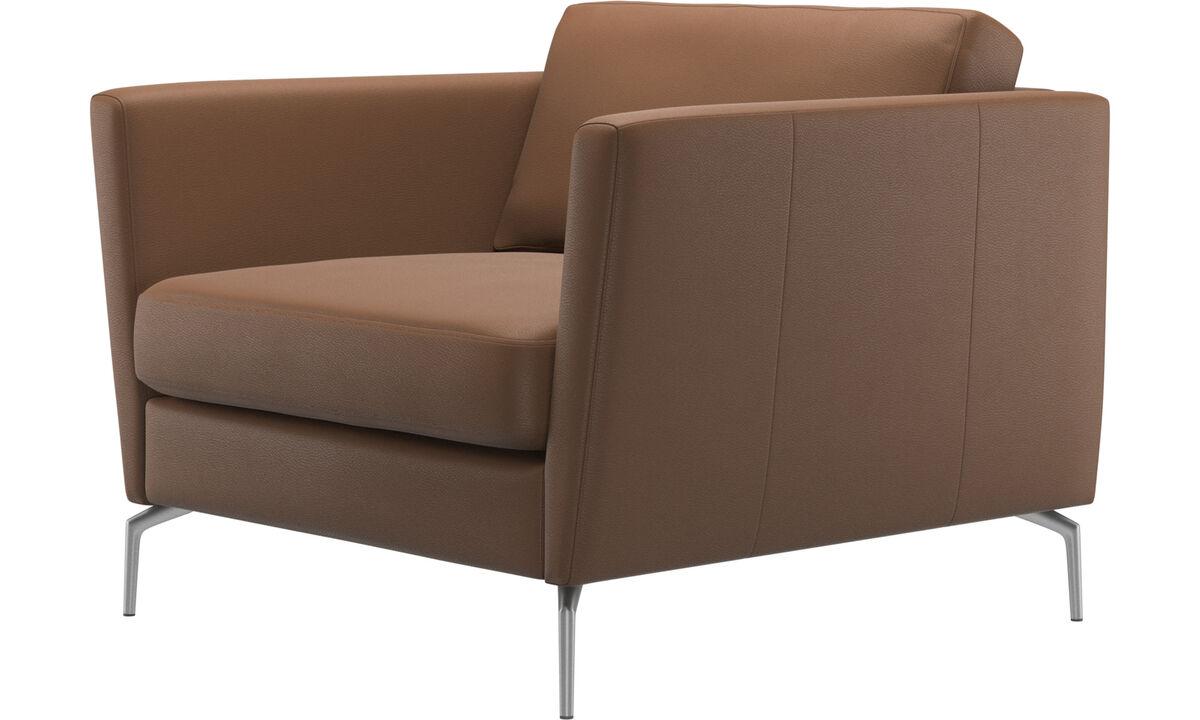 Sillones - Butaca Osaka, asiento regular - En marrón - Piel
